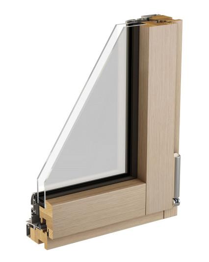Coupe fenêtre mixte bois alu eben