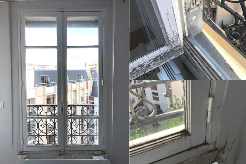 fenêtre d'origine en bois simple vitrage
