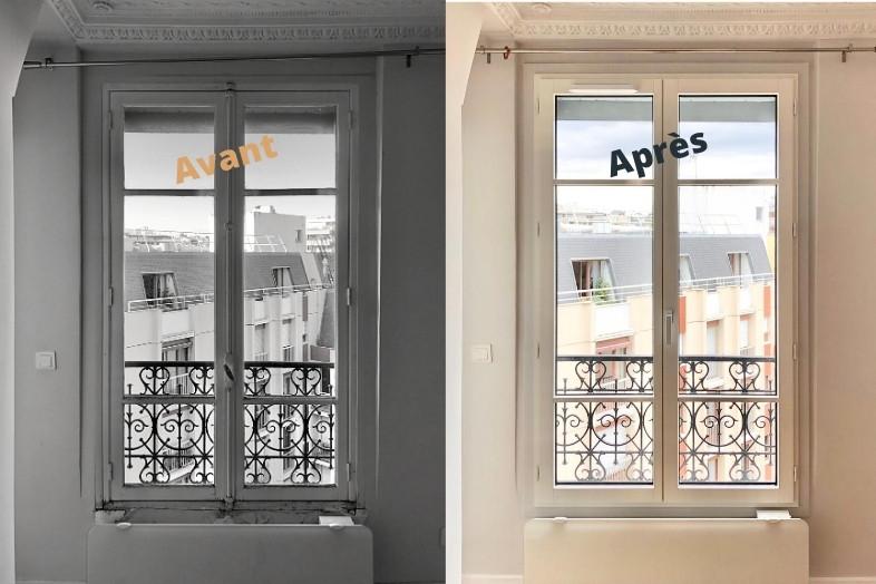 Pose fenêtre eben avant et après