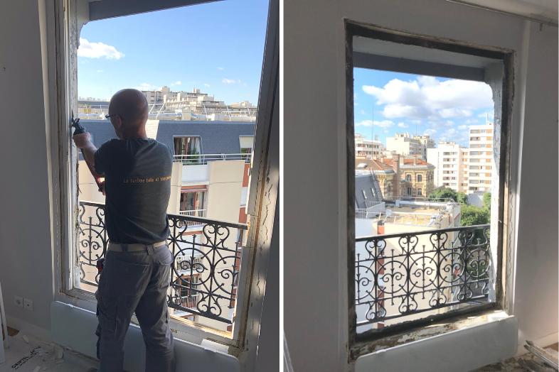 Retrait de l'ancien dormant de fenêtre