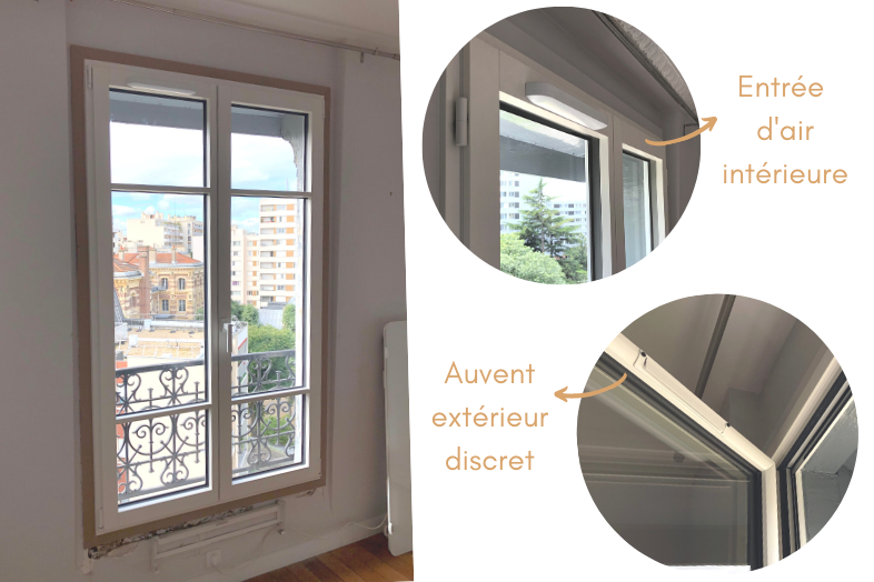 Habillages intérieurs et entrée d'air de la fenêtre